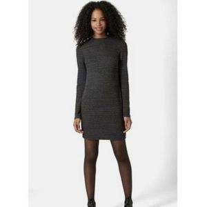 Topshop Zippered Ribbed Gray Sweater Dress